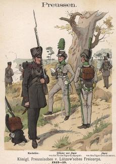 Униформа пехоты прусского добровольческого корпуса майора фон Лютцова образца 1813-15 гг. Uniformenkunde Рихарда Кнотеля, часть 2, л.8. Ратенау (Германия), 1891