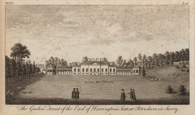 Фасад дворца графов Харрингтон, выходящий в парк в Петерсхэм (графство Суррей) (из A New Display Of The Beauties Of England... Лондон. 1776 год. Том 1. Лист 19)