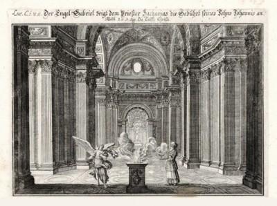 Явление ангела Захарии (из Biblisches Engel- und Kunstwerk -- шедевра германского барокко. Гравировал неподражаемый Иоганн Ульрих Краусс в Аугсбурге в 1694 году)