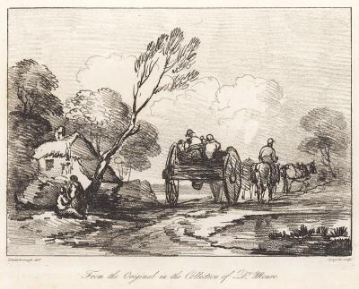 Повозка и сельский дом. Гравюра с рисунка знаменитого английского пейзажиста Томаса Гейнсборо из коллекции  британского мецената Т. Монро. A Collection of Prints ...of Tho. Gainsborough, Лондон, 1819.