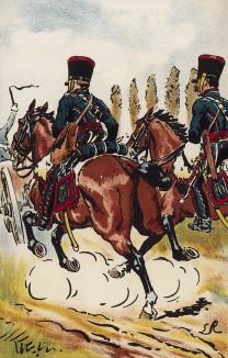 Расчет французской конной артиллерии в сражении под Фридландом 14 июня 1807 г. Коллекция Роберта фон Арнольди. Германия, 1911-29
