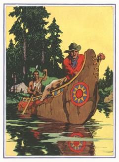 Охотники: индеец и американец на каноэ.