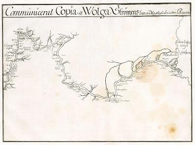 """Карта течения Волги от Нижнего Новгорода до Астрахани. """"Заметки о России, составленные Эриком Пальмквистом в 1674 году"""". Репринт 1898 года."""