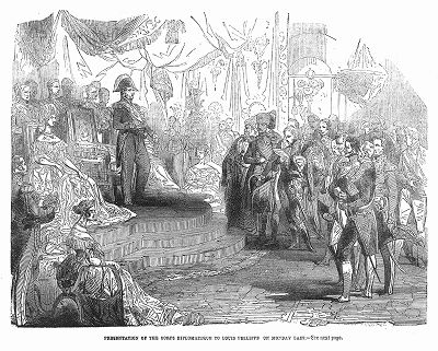 Представление британского дипломатического корпуса Его Величеству королю Франции Луи-Филиппу I в роскошном дворце Парижа Тюильри, служившем одной из резиденций для французских королей (The Illustrated London News №88 от 06/01/1844 г.)