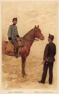 Армия Швейцарии. Военный медик и военный фармацевт (из альбома хромолитографий L' Armée Suisse... Цюрих. 1894 год)