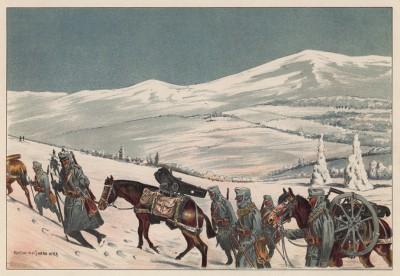Горная артиллерия австро-венгерской армии на марше (из редкого альбома Der Osterr. Ung. Soldat mit waffe und Werkzeug. Armee-Bilderbuch (нем.), изданного в Штраубинге (Германия) в 1911 году)