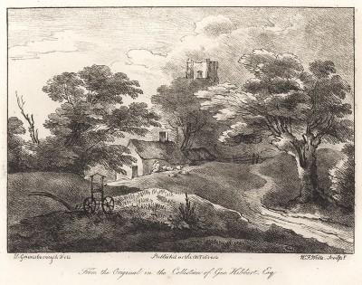 Пейзаж с сельским домом и замком на холме. Гравюра с рисунка знаменитого английского пейзажиста Томаса Гейнсборо из коллекции Дж. Хибберта. A Collection of Prints ...of Tho. Gainsborough, Лондон, 1819.