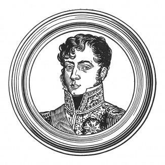"""Шарль-Тристан де Монтолон (1783—1853) — адъютант Наполеона I, последовавший за низложенным императором на остров Святой Елены, где тот назначил его своим душеприказчиком. Илл. к пьесе С.Гитри """"Наполеон"""", Париж, 1955"""