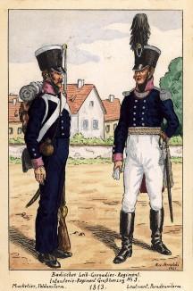 1813 г. Солдат и офицер лейб-гренадерского полка Великого герцогства Баден. Коллекция Роберта фон Арнольди. Германия, 1911-29