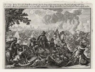 Битва под Гаваоном (из Biblisches Engel- und Kunstwerk -- шедевра германского барокко. Гравировал неподражаемый Иоганн Ульрих Краусс в Аугсбурге в 1700 году)