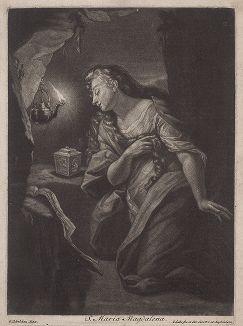 Святая Мария Магдалина. Меццо-тинто Якоба Голе с оригинала Годфрида Схалкена.