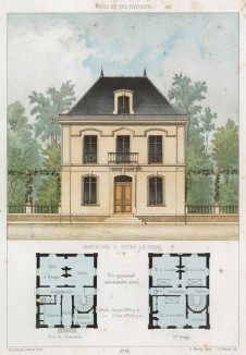 Домик в парижском предместье Бург-ла-Рен (из популярного у парижских архитекторов 1880-х Nouvelles maisons de campagne...)