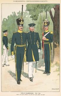 Офицеры и солдаты гренадерского батальона Småland в униформе образца 1832-45 гг. Svenska arméns munderingar 1680-1905. Стокгольм, 1911