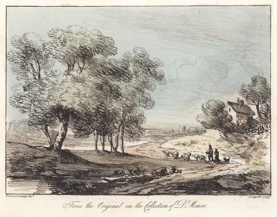 Пастухи с овечками, идущие по дороге. Гравюра с рисунка знаменитого английского пейзажиста Томаса Гейнсборо из коллекции британского мецената Т. Монро. A Collection of Prints ...of Tho. Gainsborough, Лондон, 1819.