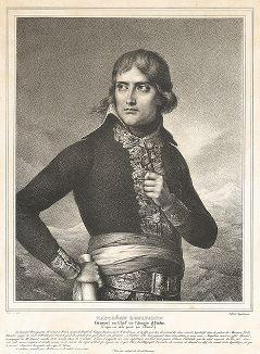Наполеон Бонапарте, генерал-аншеф Итальянской армии, в возрасте 28 лет. Литография с неоконченного живописного оригинала Жака-Луи Давида.