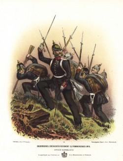 Офицер и солдаты кольбергского гренадерского полка прусской армии в униформе образца 1870-х гг. Preussens Heer. Берлин, 1876