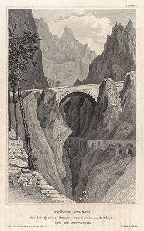 Мост Сен-Луи по дороге из Генуи в Ниццу. Meyer's Universum, Oder, Abbildung Und Beschreibung Des Sehenswerthesten Und Merkwurdigsten Der Natur Und Kunst Auf Der Ganzen Erde, Хильдбургхаузен, 1835 год.