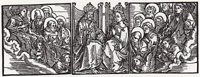 """Альбрехт Дюрер. Коронование Богоматери. Иллюстрация к """"Откровениям Святой Бригитты"""""""