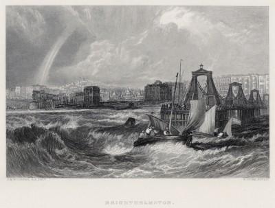 """Рыбацкая деревушка Брайтельмстон (лист из альбома """"Галерея Тёрнера"""", изданного в Нью-Йорке в 1875 году)"""