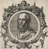 """Плиний Старший (23--79 гг. н. э.) -- автор """"Естественной истории"""" (лист 22 иллюстраций к известной работе Medicorum philosophorumque icones ex bibliotheca Johannis Sambuci, изданной в Антверпене в 1603 году)"""