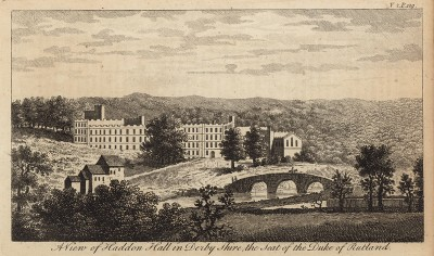 Хеддон-Холл, поместье герцога Ратленда в Дербишире (из A New Display Of The Beauties Of England... Лондон. 1776 г. Том 2. Лист 109)