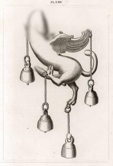 Амулет-фаллос в виде крылатого льва (символизирует силу, быстроту реакции и победу) снабжен колокольчиками для отпугивания злых духов. Высота около 5 дюймов. Экспонат Секретного кабинета Неаполитанского музея.