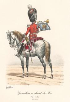 Трубач гвардейских конных гренадеров короля Франции в 1815 году. Histoire de la Maison Militaire du Roi de 1814 à 1830. Экз. №93 из 100, изготовлен для H.Fontaine. Том II, л.31. Париж, 1890