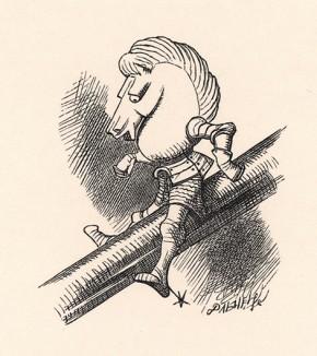 Белый Конь едет вниз по кочерге. Того и гляди упадет (иллюстрация Джона Тенниела к книге Льюиса Кэрролла «Алиса в Зазеркалье», выпущенной в Лондоне в 1870 году)