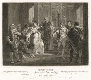 """Иллюстрация к комедии Шекспира """"Много шума из ничего"""", акт IV, сцена I: Геро падает в обморок во время церемонии бракосочетания с Клавдио. Boydell's Graphic Illustrations of the Dramatic works of Shakspeare, Лондон, 1803."""