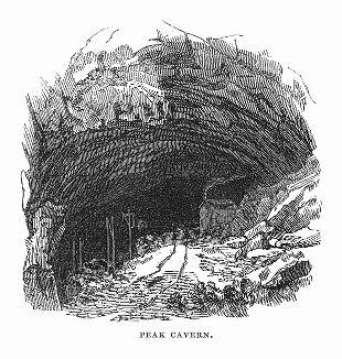 Крупнейшая пещера Великобритании в поместье Каслтон английского графства Дербишир, некоторое время служившая убежищем для бандитов (The Illustrated London News №95 от 24/02/1844 г.)