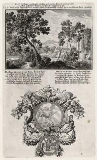 1. Сарра у источника 2. Моление Авраама о наследнике (из Biblisches Engel- und Kunstwerk -- шедевра германского барокко. Гравировал неподражаемый Иоганн Ульрих Краусс в Аугсбурге в 1700 году)