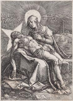 Оплакивание. Гравюра Гендрика Голциуса, 1596 год.