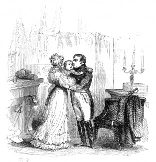Последнее свидание императора Наполеона с женой и сыном. 25 января 1814 года Наполеон уезжает в армию главнокомандующим, передав регентство императрице Марии-Луизе. Histoire de l'empereur Napoléon, Париж, 1840