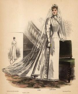 Юная невеста в белоснежном подвенечном платье и полупрозрачной фате. Из французского модного журнала Le Coquet, выпуск 288, 1892 год