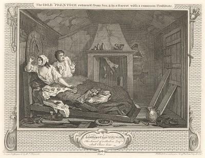 Праздный. Подмастерье с проституткой на чердаке, 1747. Лентяй Томас скрывается от правосудия. Он живет в нищенской обстановке с проституткой. Страшась ареста, с ужасом просыпается среди ночи из-за шума, поднятого кошкой. Лондон, 1838