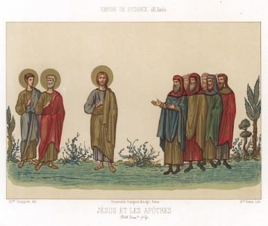 Иисус и 12 апостолов (миниатюра из средневековой византийской Библии) (из Les arts somptuaires... Париж. 1858 год)