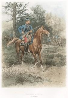 1885 год. Французский конный егерь в полевой форме (из Types et uniformes. L'armée françáise par Éduard Detaille. Париж. 1889 год)