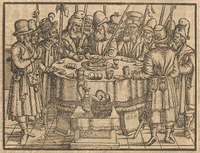 Тайная вечеря. Иллюстрация к самому красивому изданию Библии, созданному в середине XVI века в Виттенберге (издатель Ганс Крафт).