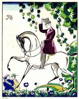 Всадник. Рекламная иллюстрация в технике пошуар из Les feuillets d'art. Париж, 1920
