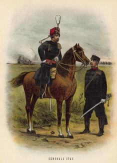 Офицеры Генерального штаба голландской армии (иллюстрация к работе Onze krijgsmacht met bijshriften... (голл.), изданной в Гааге в 1886 году)