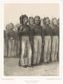 Турецкие егеря в Константинополе 7 ноября 1837 года (из Voyage dans la Russie Méridionale et la Crimée... Париж. 1848 год (лист 82))