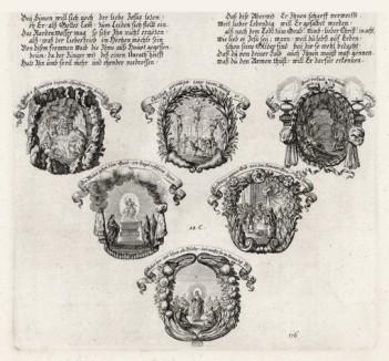 Шесть сцен из Евангелия от Матфея (из Biblisches Engel- und Kunstwerk -- шедевра германского барокко. Гравировал неподражаемый Иоганн Ульрих Краусс в Аугсбурге в 1700 году)