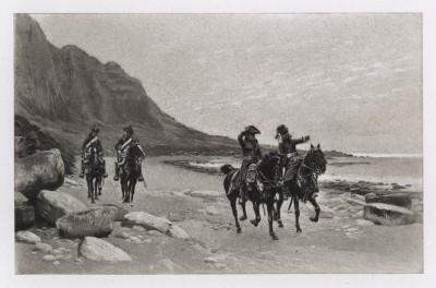 """Французские драгуны патрулируют побережье Бретани (иллюстрация к известной работе """"Кавалерия Наполеона"""", изданной в Париже в 1895 году)"""