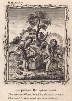 """Там теснят зло, где может вытерпеть добро (из бестселлера XVII -- XVIII веков """"Символы божественные и моральные и загадки жизни человека"""" Фрэнсиса Кварльса (лондонское издание 1788 года))"""