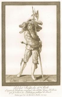 Швейцарский солдат XVI века, опирающийся на алебарду (акватинта, выполненная по рисунку Ганса Гольбейна младшего, хранящемуся в публичной библиотеке города Базеля. Базель. 1790 год)