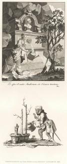 Фронтиспис и финальный лист художественного каталога, 1761. Вверху: Британия набирает воды из фонтана с бюстом Георга III и поливает Живопись, Скульптуру и Архитектуру. Внизу: обезьянка льет воду на «пеньки творчества» старых мастеров. Лондон, 1838