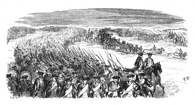 Семилетняя война 1756-1763 гг. Армия Фридриха Великого пересекает границу Саксонии 28 августа 1756 года. Илл. Адольфа Менцеля. Geschichte Friedrichs des Grossen von Franz Kugler. Лейпциг, 1842, с.299
