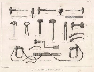 Инструменты кузнеца для подковки лошадей. The Book of Field Sports and Library of Veterinary Knowledge. Лондон, 1864