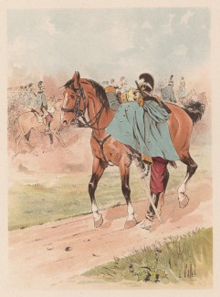 """Драгун австро-венгерской армии, седлающий лошадь (из """"Иллюстрированной истории верховой езды"""", изданной в Париже в 1893 году)"""