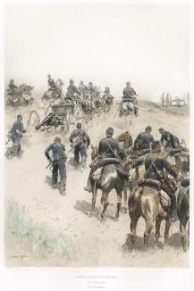 Батарея французской конной артиллерии на манёврах в 1887 году (из Types et uniformes. L'armée françáise par Éduard Detaille. Париж. 1889 год)